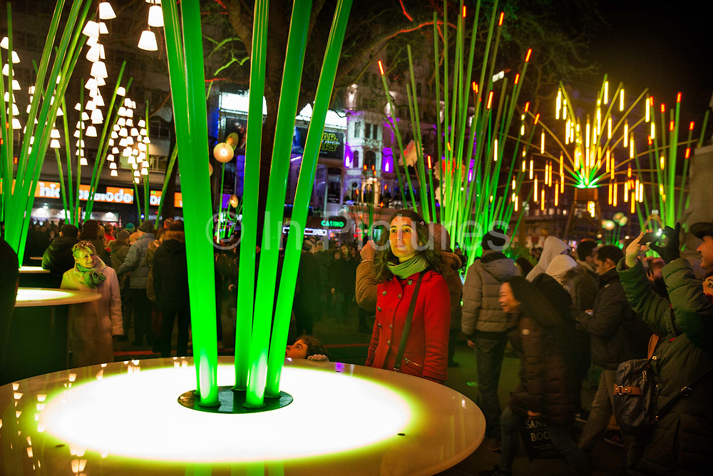 Illuminated plants in the centre of Leicester Square brought the taste of the tropics on a freezing January night, as part of the a free London Lumiere light festival. Held over 4 days in January 2016 the event brought huge crowds into Londons centre. The work was produced by TILT, a French collective that reclaim public space for their art. The whole festival was produced by Artichoke and supported by the Mayor of London, in 30 locations across some of the capital's most iconic areas.