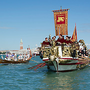 VENICE, ITALY - MAY 12:  The Serenissima  boat sails during the Sensa procession in Bacino Saint's Mark on May 12, 2013 in Venice, Italy. The festival of la Sensa is held in May on the Sunday after Ascension Day and follows a reenactment of the traditional ceremony where the Doge enacted the wedding of Venice to the sea.  (Photo by Marco Secchi/Getty Images)