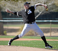 GLENDALE, ARIZONA - FEBRUARY 24:  Mat Latos #38 of the Chicago White Sox pitches during spring training workouts on February 24, 2015 at Camelback Ranch in Glendale Arizona.  (Photo by Ron Vesely)    Subject:  Mat Latos
