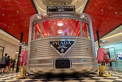 July 4, 2018 - Shanghai, Shanghai, China - Shanghai, CHINA- The silver 'Prada Train' can be seen at a shopping mall in Shanghai,China. The silver 'train' is a pop-up store of Prada. (Credit Image: © SIPA Asia via ZUMA Wire)