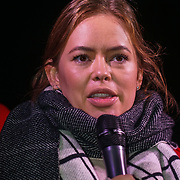 London, UK, 20th Dec 2017. Speaker Tanya Burr protests calling upon the government to provide free sanitary products to every girl in the UK who receives free school meals at Richmond Terrace, London, UK.