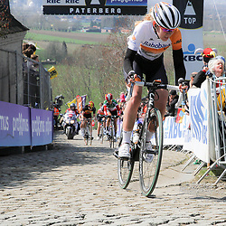 05-04-2015: Wielrennen: Ronde van Vlaanderen vrouwen: Belgie<br /> OUDENAARDE (BEL) cycling<br /> The 3th race in the UCI womens World Cup is the 12th edition of the Ronde van Vlaanderen. The race distance is 145 km with 12 Climbs and 5 zones of Cobbles.<br /> Anna van der Breggen werd derde in Vlaanderens Mooiste