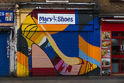 Closed shoe shop by Petticoat Lane during the coronavirus pandemic on the 4th May 2020 in London, United Kingdom.
