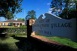 Stock photo of the entrance to the City of Hunters Creek Village City Hall building