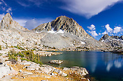 Alpine tarn and peaks above Dusy Basin, Kings Canyon National Park, California