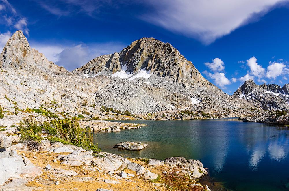 Alpine tarn and peaks above Dusy Basin, Kings Canyon National Park, California