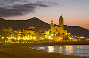 San Barthomieu i Santa Tecla church. Beach. At night. Sitges, Catalonia, Spain