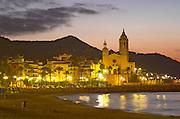 San Barthomieu i Santa Tecla church. Beach. At night. Sitges, Catalonia, Spain