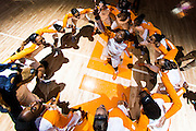 KNOXVILLE,TN - FEBRUARY 04, 2016 -  Tennessee Lady Volunteers team huddle during the game between the Arkansas Razorbacks and the Tennessee Lady Volunteers at Thompson-Boling Arena in Knoxville, TN. Photo By Craig Bisacre/Tennessee Athletics