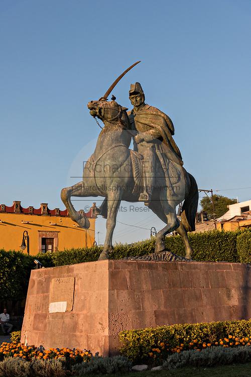 Statue of Miguel de Allende in the Plaza Civica in the historic Spanish Colonial district of San Miguel de Allende, Guanajuato, Mexico.
