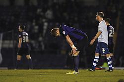 Bristol Rovers' Matt Harrold cuts a dejected figure as Bristol Rovers lose away to Bury 2 - 1 - Photo mandatory by-line: Dougie Allward/JMP - Mobile: 07966 386802 01/04/2014 - SPORT - FOOTBALL - Bury - Gigg Lane - Bury v Bristol Rovers - Sky Bet League Two