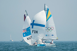 10.08.2012, Bucht von Weymouth, GBR, Olympia 2012, Segeln, im Bild Kanerva Silja, Wulff Mikaela, Lehtinen Silja, (FIN, Match Race).Curtis Nina, Whitty Lucinda, Price Olivia, (AUS, Match Race) // during Sailing, at the 2012 Summer Olympics at Bay of Weymouth, United Kingdom on 2012/08/10. EXPA Pictures © 2012, PhotoCredit: EXPA/ Juerg Kaufmann ***** ATTENTION for AUT, CRO, GER, FIN, NOR, NED, .POL, SLO and SWE ONLY!