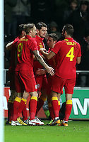 Pictured: Samuel Vokes of Wales (C) celebrating his goal with team mates. Wednesday 06 February 2013..Re: Vauxhall International Friendly, Wales v Austria at the Liberty Stadium, Swansea, south Wales.