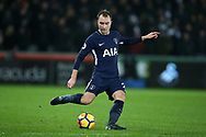 Christian Eriksen of Tottenham Hotspur in action. Premier league match, Swansea city v Tottenham Hotspur at the Liberty Stadium in Swansea, South Wales on Tuesday 2nd January 2018. <br /> pic by  Andrew Orchard, Andrew Orchard sports photography.