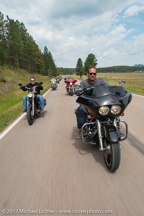 Bobby Seeger on Aidan's Ride to raise money for the Aiden Jack Seeger nonprofit foundation to help raise awareness and find a cure for ALD (Adrenoleukodystrophy) during the annual Sturgis Black Hills Motorcycle Rally. Riding between Nemo and Rapid City, SD, USA. Tuesday August 8, 2017. Photography ©2017 Michael Lichter.