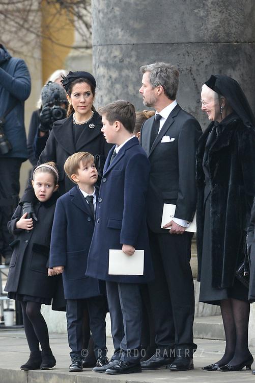 20.02.2018. Copenhagen, Denmark. <br /> Crown Princess Mary,  Crown Prince Frederik, Princess Josephine, Prince Vincent, Prince Christian, Queen Margrethe outside at Christiansborg Palace Church. <br /> Photo: Ricardo Ramirez.