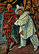 Mardi Gras', 1888. Oil on canvas. Paul Cezanne (1839-1906) French Post-Impressionist painter. Two figures dressed as the Commedia dell'arte characters Harlequin and Pierrot.