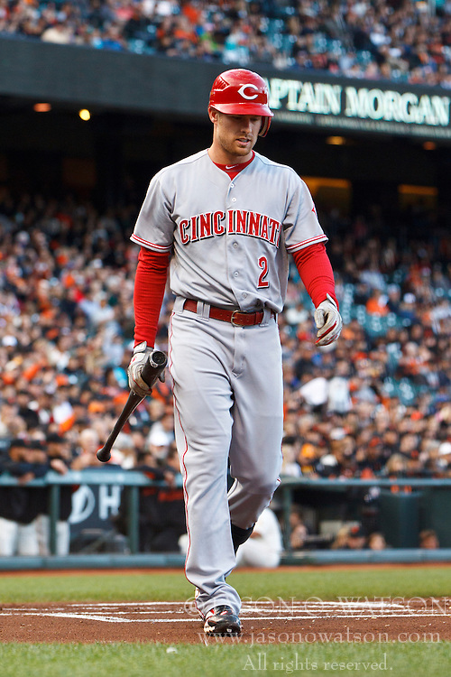 SAN FRANCISCO, CA - JUNE 28: Zack Cozart #2 of the Cincinnati Reds returns to the dugout after striking out against the San Francisco Giants during the first inning at AT&T Park on June 28, 2012 in San Francisco, California. The San Francisco Giants defeated the Cincinnati Reds 5-0. (Photo by Jason O. Watson/Getty Images) *** Local Caption *** Zack Cozart