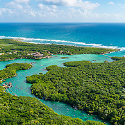 Aerial view of Xelha. Riviera Maya. Quintana Roo, Mexico.