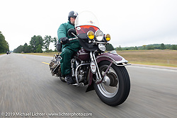 Brent Mayfield of Ohio riding his restored 1945 Harley-Davidson EL Knucklehead in the Cross Country Chase motorcycle endurance run from Sault Sainte Marie, MI to Key West, FL. (for vintage bikes from 1930-1948). Stage 1 from Sault Sainte Marie to Ludington, MI USA. Friday, September 6, 2019. Photography ©2019 Michael Lichter.