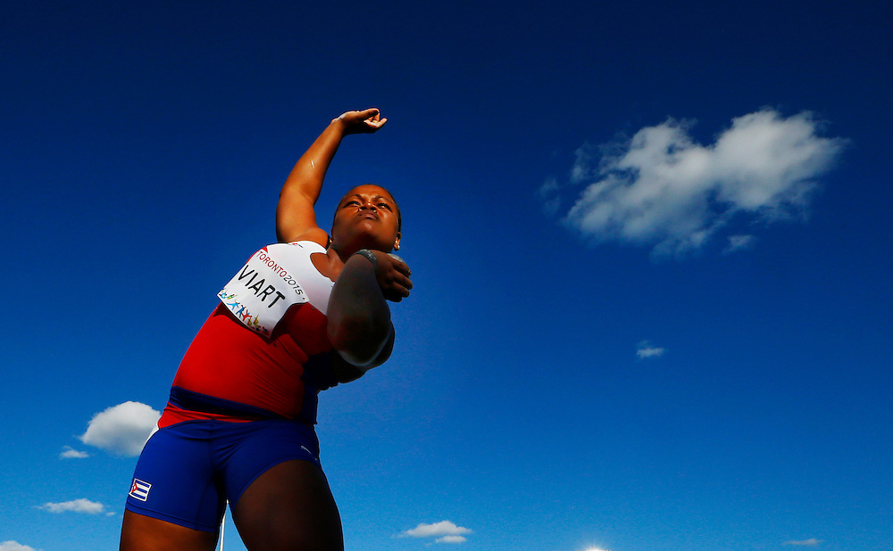 Saily Viart of Cuba competes in the women's shot put during the athletics at the Pan Am Games in Toronto, Wednesday July 22, 2015.    THE CANADIAN PRESS/Mark Blinch