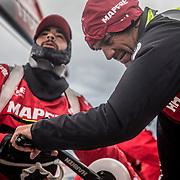 Leg 3, Cape Town to Melbourne, day 03,  Willy Altadill and Xabi Fernandez on board MAPFRE. Photo by Jen Edney/Volvo Ocean Race. 16 December, 2017.