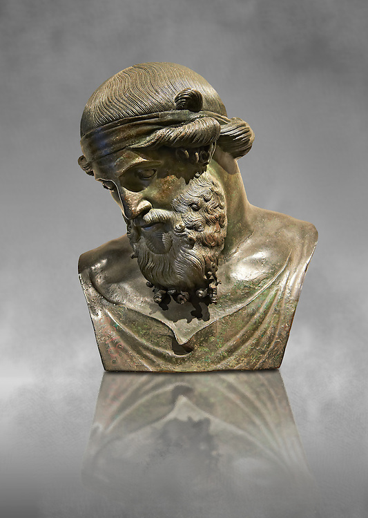 Roman bronze sculpture of Dinoysus - Plato, Naples Museum of Archaeology, Italy ..<br /> <br /> If you prefer to buy from our ALAMY STOCK LIBRARY page at https://www.alamy.com/portfolio/paul-williams-funkystock/greco-roman-sculptures.html . Type -    Naples    - into LOWER SEARCH WITHIN GALLERY box - Refine search by adding a subject, place, background colour, etc.<br /> <br /> Visit our ROMAN WORLD PHOTO COLLECTIONS for more photos to download or buy as wall art prints https://funkystock.photoshelter.com/gallery-collection/The-Romans-Art-Artefacts-Antiquities-Historic-Sites-Pictures-Images/C0000r2uLJJo9_s0