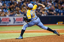 June 10, 2017 - St. Petersburg, Florida, U.S. - WILL VRAGOVIC   |   Times.Tampa Bay Rays relief pitcher Alex Colome (37) throwing the ninth inning of the first game of the double header between the Tampa Bay Rays and the Oakland Athletics at Tropicana Field in St. Petersburg, Fla. on Saturday, June 10, 2017. (Credit Image: © Will Vragovic/Tampa Bay Times via ZUMA Wire)