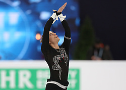 January 17, 2018 - Moscow, Russia - Figure skater Michal Brezina of Czech Republic performs his short program during a men's singles competition at the 2018 ISU European Figure Skating Championships, at Megasport Arena in Moscow, Russia  on January 17, 2018. (Credit Image: © Igor Russak/NurPhoto via ZUMA Press)