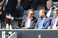 Massimo Cellino, the Leeds United Owner reacts from the stands after Leeds United miss another chance to score.Skybet EFL championship match, Queens Park Rangers v Leeds United at Loftus Road Stadium in London on Sunday 7th August 2016.<br /> pic by John Patrick Fletcher, Andrew Orchard sports photography.