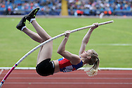 Sally Peake competing in the Women's Pole Vault Final. The British Championships 2016, athletics event at the Alexander Stadium in Birmingham, Midlands  on Saturday 25th June 2016.<br /> pic by John Patrick Fletcher, Andrew Orchard sports photography.