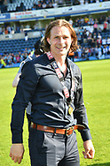 Wycombe Wanderers manager Gareth Ainsworth celebrates promotion during the EFL Sky Bet League 2 match between Wycombe Wanderers and Stevenage at Adams Park, High Wycombe, England on 5 May 2018. Picture by Alistair Wilson.