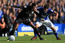 29th October 2017 - Sky Bet EFL Championship - Birmingham City v Aston Villa - Jonathan Kodjia of Villa battles with Maxime Colin of Birmingham - Photo: Simon Stacpoole / Offside.