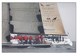 The first mornings racing at the Bell Lawrie Yachting Series in Tarbert Loch Fyne Damp and light conditions made the conditions challenging for the competitors...GBR744R Hotel California in Class one...
