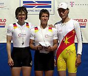 FISA World Cup Rowing Munich Germany..Photo Peter Spurrier 29/05/2004. Finals day..Lightweight women's medals.. [Mandatory Credit: Peter Spurrier: Intersport Images]. centre Gold Medalist GER3 LW1X. Nina GAESSLER. left, Silver Medalist. GER1 LW1X Marie-Louise DRAEGER. right Bronze Medalist. CHN LW1x. Fengjun FU