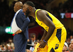 April 25, 2018 - Cleveland, OH, USA - The Indiana Pacers' Lance Stephenson cheers for his team from the sideline against the Cleveland Cavaliers in the fourth quarter in Game 5 on Wednesday, April 25, 2018, at Quicken Loans Arena in Cleveland. The Cleveland Cavaliers won, 98-95, for a 3-2 lead in the first-round NBA playoff series. (Credit Image: © Leah Klafczynski/TNS via ZUMA Wire)
