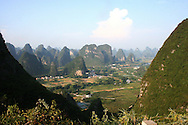 Landscape of kartsic mountains in the countryside of Yangshuo