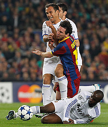 03-05-2011 VOETBAL: SEMI FINAL CL  FC BARCELONA - REAL MADRID: BARCELONA<br /> Lionel Messi and Kaka (b), Ricardo Carvalho and Lass Diarra <br /> *** NETHERLANDS ONLY***<br /> ©2011-FH.nl- EXPA/ Alterphotos/ Acero