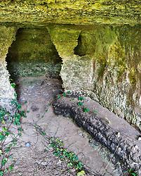 L'interno della Cripta Basiliana affrescata sita lungo il costone orientale del Canale dei Fani a Salve in provincia di Lecce.