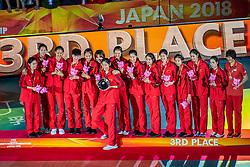 20-10-2018 JPN: Ceremony World Championship Volleyball Women day 21, Yokohama<br /> Bronze medal China