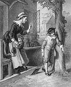Schoolboy being scolded by the teacher at the schoolhouse Artwork from Godey's Lady's Book and Magazine, 1880, Published in Philadelphia, USA by Louis A. Godey, Sarah Josepha Hale,