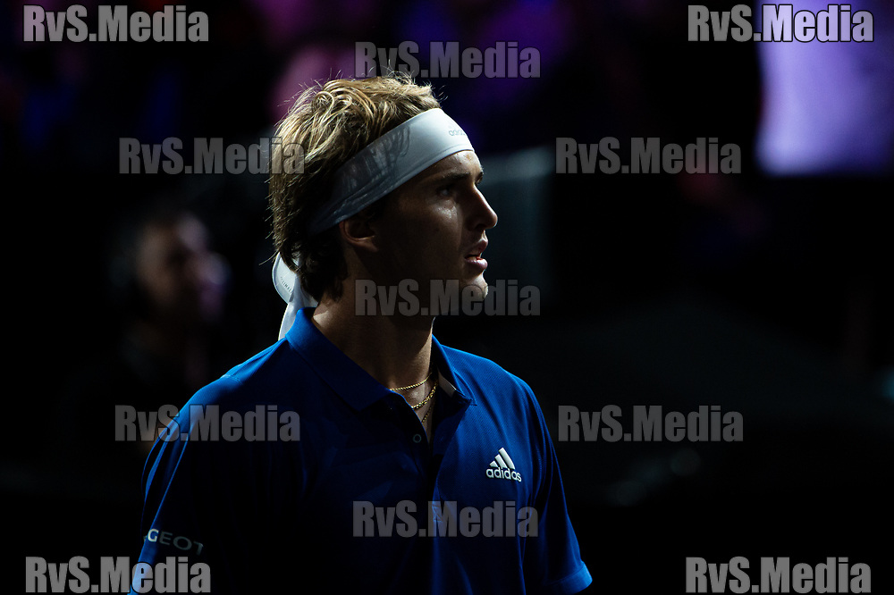 GENEVA, SWITZERLAND - SEPTEMBER 22: Alexander Zverev of Team Europe looks on during Day 3 of the Laver Cup 2019 at Palexpo on September 20, 2019 in Geneva, Switzerland. The Laver Cup will see six players from the rest of the World competing against their counterparts from Europe. Team World is captained by John McEnroe and Team Europe is captained by Bjorn Borg. The tournament runs from September 20-22. (Photo by Robert Hradil/RvS.Media)