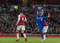 Football - 2017 / 2018 Premier League - Arsenal vs. Everton<br /> <br /> Dominic Calvert-Lewin (Everton FC ) rises highest to head home a consolation goal for Everton at The Emirates.<br /> <br /> COLORSPORT/DANIEL BEARHAM
