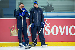 Matjaz Kopitar, head coach Slovenia and Nik Zupancic, assistant coach Slovenia during practice session of Slovenian National Ice Hockey Team 1 day prior to the 2015 IIHF World Championship in Czech Republic, on April 30, 2015 in Practice arena Ostrava, Czech Republic. Photo by Vid Ponikvar / Sportida
