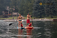 Standup paddleboarding on Flathead Lake, Montana, USA MR