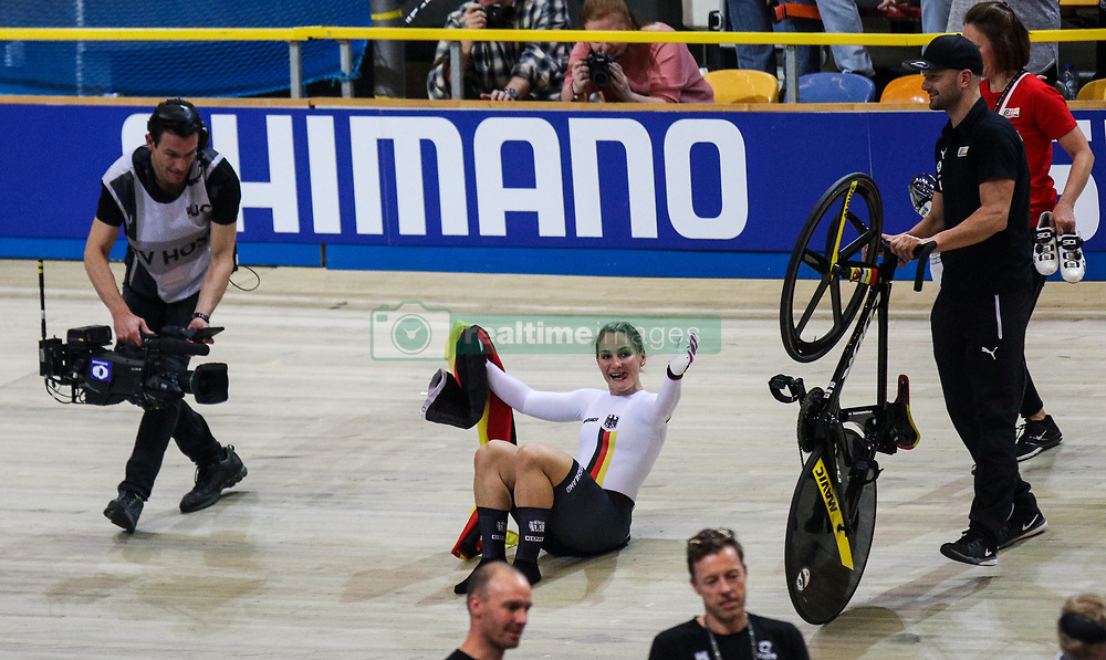 March 2, 2018 - Apeldoorn, Netherlands - Gold medalist Germany's Kristina Vogel celebrates winning the women's sprint final during the UCI Track Cycling World Championships in Apeldoorn on March 2, 2018. (Credit Image: © Foto Olimpik/NurPhoto via ZUMA Press)