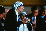 Mother Teresa founder of the Missionaries of Charity in Calcutta during the Congressional Gold Medal ceremony on Capitol Hill May 6, 1997 in Washington, DC.
