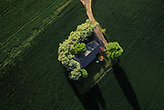 Aerial image of a single family home on a farm in the Palouse, Washington, Pacific Northwest by Randy Wells