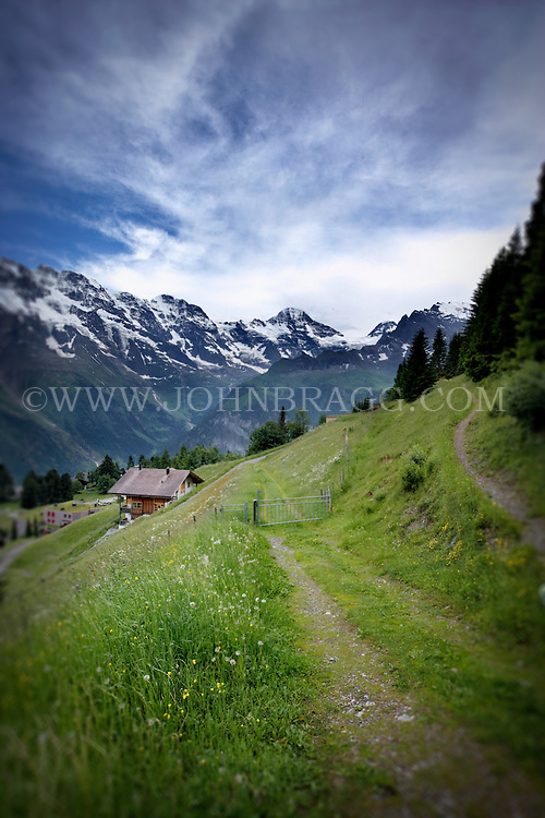 Scenic image of a hiking trail in the Swiss Alps