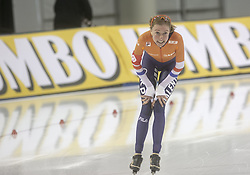 March 9, 2019 - Salt Lake City, Utah, USA - Esmee Visser of the Netherlands smiles after competing in the ladies 3000m speed skating finals at the ISU World Cup at the Olympic Oval in Salt Lake City, Utah. (Credit Image: © Natalie Behring/ZUMA Wire)